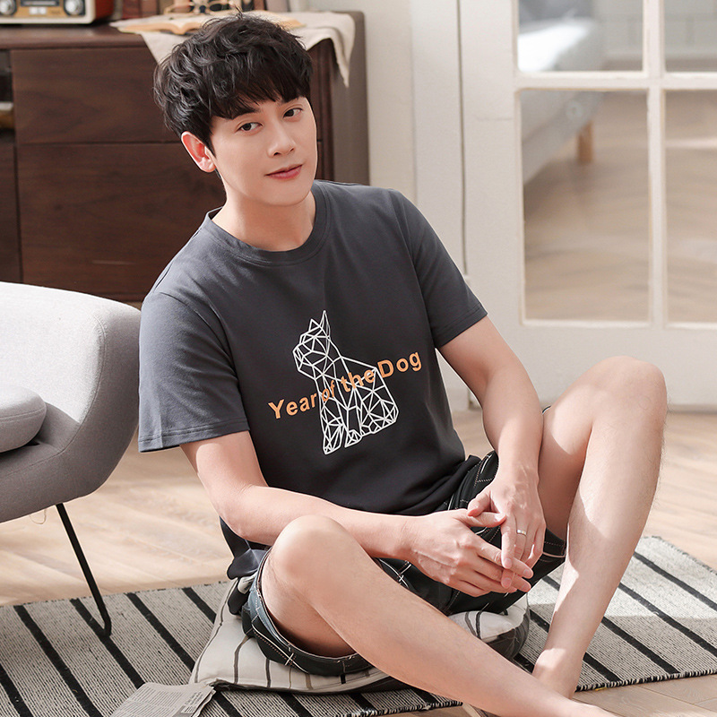 Men Summer Cotton New Pajamas Korean Pullover Casual Short Sleeve Shorts Thin Two Piece Pajama Sets Mens Pajama Set Men Pajamas