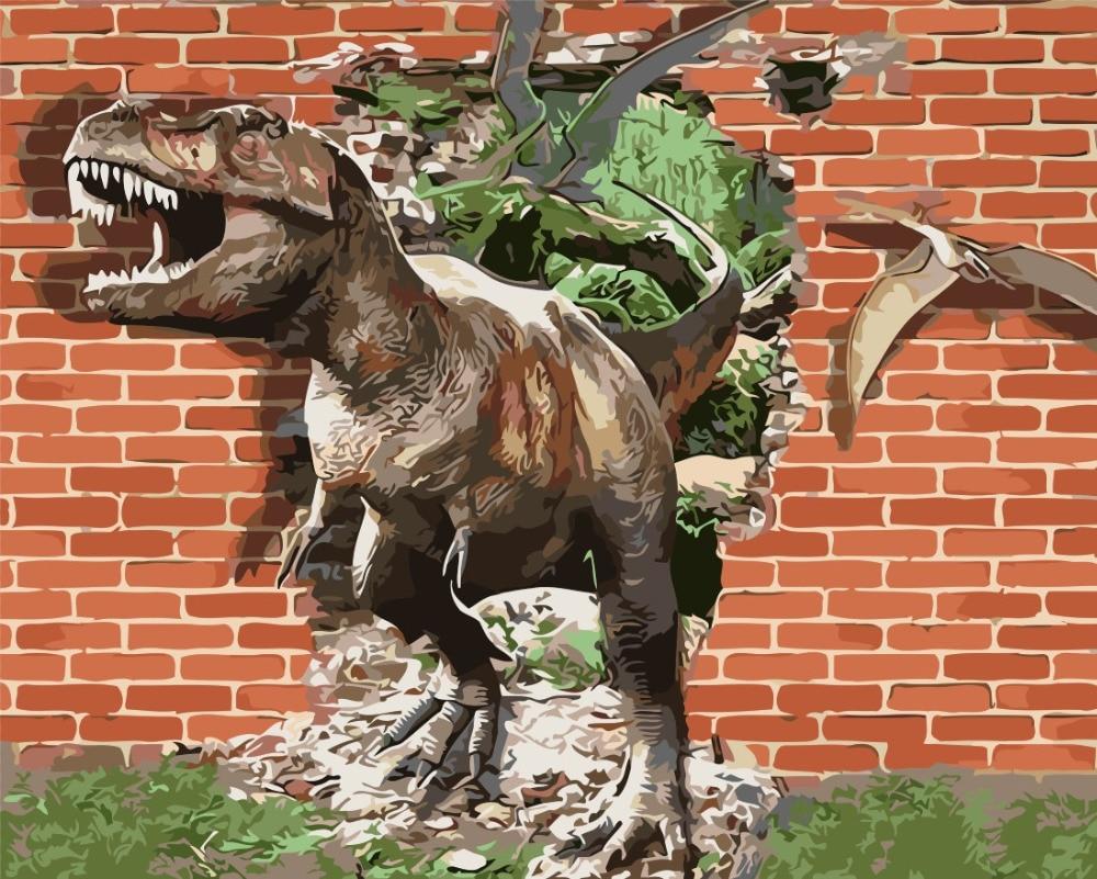 US $8 28 OFF 3D Dinosaur Lukisan Gambar Manusia Hidup Jendela Cat Dengan Nomor Digital Gambar Mewarnai Unik Hadiah Dekorasi Kamar Dekorasi