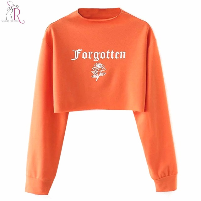 7e28366db42 Orange Fashion Letter Print Long Sleeve Short Cropped Sweatshirt Women O  Neck Casual Loose Fashion Autumn Crop Top Pullovers