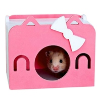 2018 New Cartoon Hamster Toy Nest Small Animal Wood House Bed Cage Nest Pet Hedgehog Castle Toy Pet House