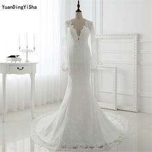 Real Picture Long Sleeves Lace Mermaid Wedding Dress Sexy Vestidos De Novias 2017 New Arirval vestidos de noiva robe de mariage