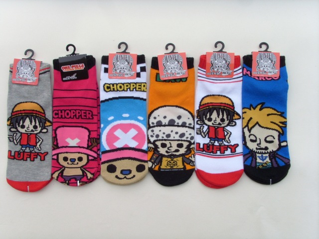 One piece cartoon striped socks Luffy Law Marco fashion casual fun novelty men sock spring summer breathable blue cotton socks