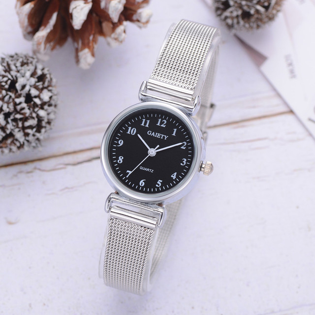Silver blue stainless steel mesh strap casual wild quartz watch