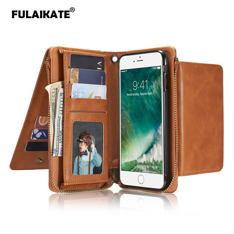 Husa pentru portofel multifuncțional FULAIKATE pentru iPhone 7 Plus - Accesorii și piese pentru telefoane mobile