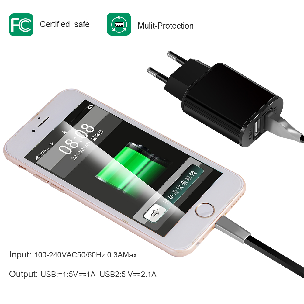5V 2A Mini Dual Port USB Wall Charger Fast Charging Station Power Adapter with EU Plug for iPhone Samsung Android Charge Adapter