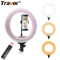 Travor 12.6 inch Bi Color LED Ring Light Dimmable 220pcs Leds photography ring lamp 3500K to 5600K with remote controller