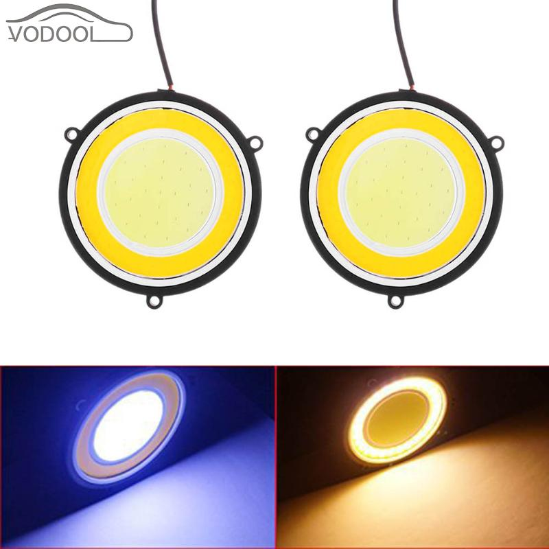 2Pcs Dual Color 12V LED COB Car DRL Waterproof Round Circular Fog Lamp Auto Light-emitting Diode Driving Daytime Running Light 2pcs universal car daytime running light led cob 12v drl auto driving front fog lamp white bulb waterproof 6000k
