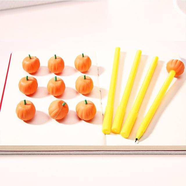 2 Pcs Erasable Halloween Pumpkin ghost Design Gel Pen Children Gift 0.5mm Black Ink Kawaii Stationery Pen Office School Supplies Banner Pens
