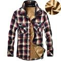 Mens Wool Liner Keep Warm Winter Shirts NIAN JEEP Plaid Print Fashion Thicken Style Shirt Men Clothing 138