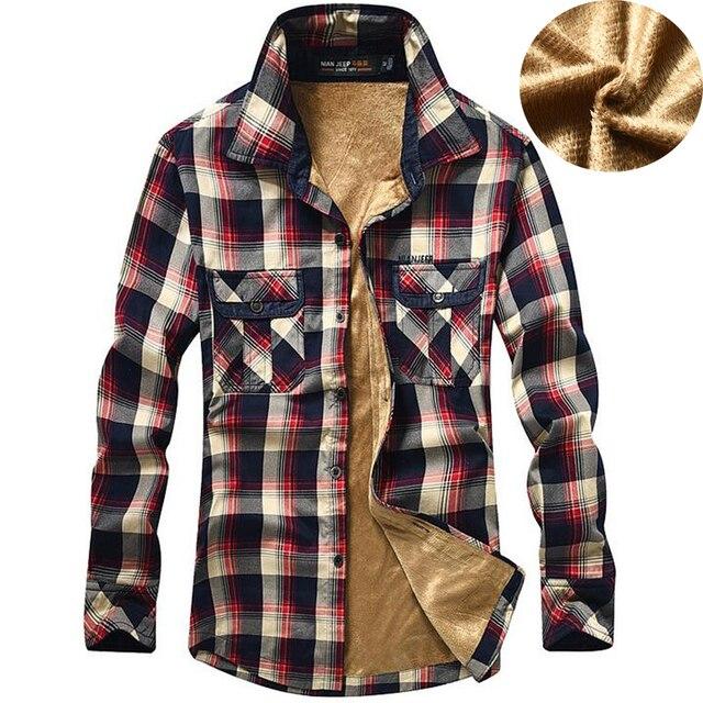 Mens Wool Liner Keep Warm Winter Shirts NIAN JEEP Plaid Print Fashion  Thicken Style Shirt Men