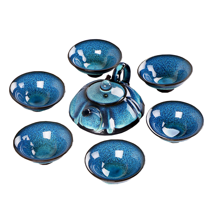 Exquisite Jingdezhen Starry sky tea set Include 6 cups 1 tea pot,temmoku glaze Porcelain Drinkware Set Kung Fu Tea Cup teapot