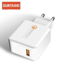"Suntaiho QC 3.0 USB טלפון מטען עבור iPhone/סמסונג/Xiaomi USB ארה""ב מטען נסיעות קיר מהיר מטען מתאם טלפון מטען"