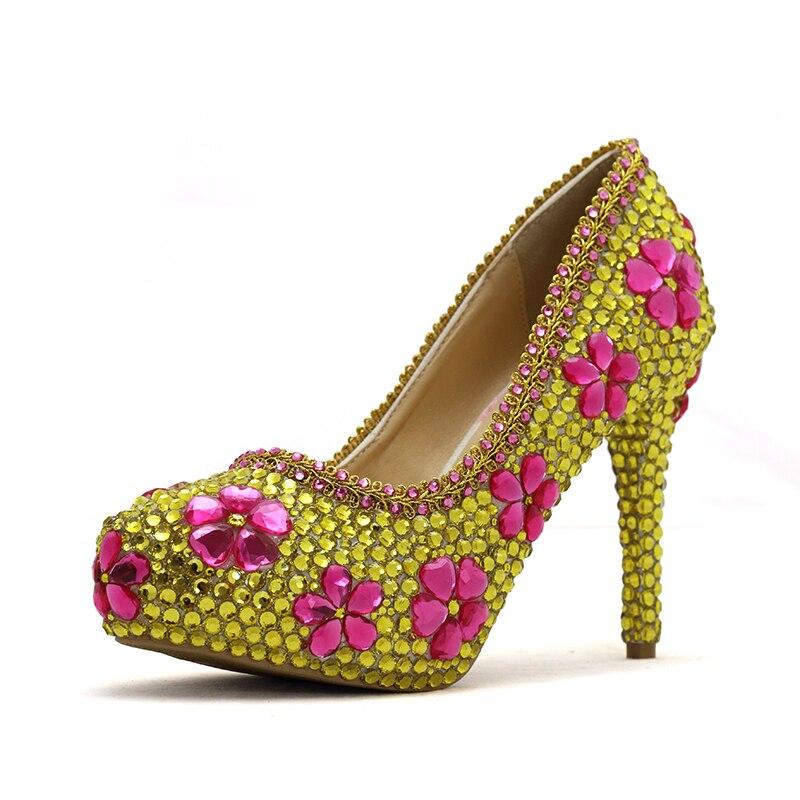 Pompes 2018 Graduation Magnifique 11cm 8cm Cristal Grande Heels Main Avec  La Partie Rose À 45 Gold De Bal Taille Strass gold Chaussures Or 14cm  Mariage ... a460681da828