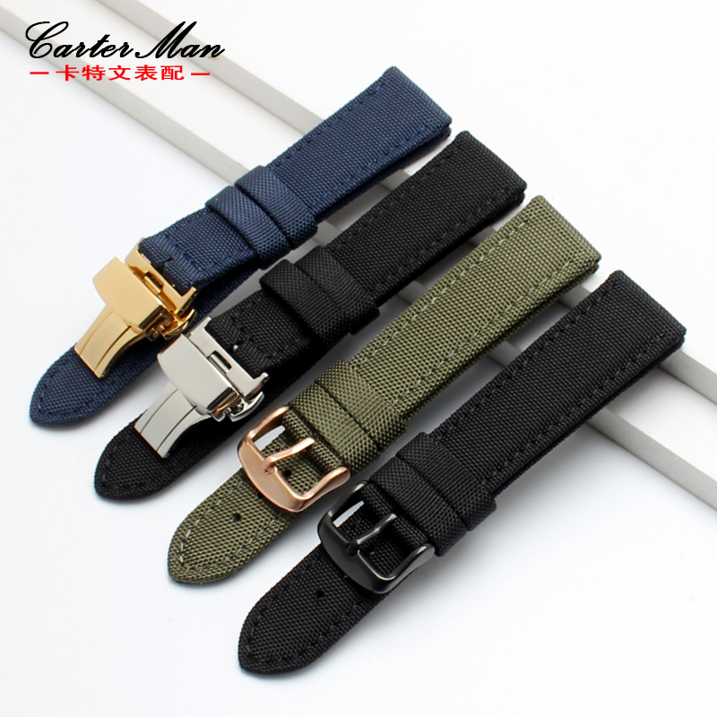 nylon+genuine leather watchband for brand with butterfly buckle 18mm 20mm 22mm 24mm Sports strap