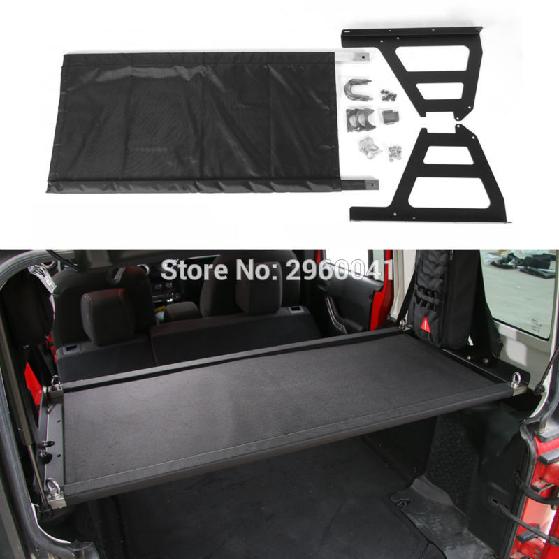 Metal+Stainless Steel+Cloth Rear Door Utility Cargo Shelf Storage Rack For Jeep Wrangler JK 2007-2017 Car Styling 8pcs stainless steel side door decoration strip for 4 doors for jeep wrangler jk 2007 2016 4 doors car styling accessories