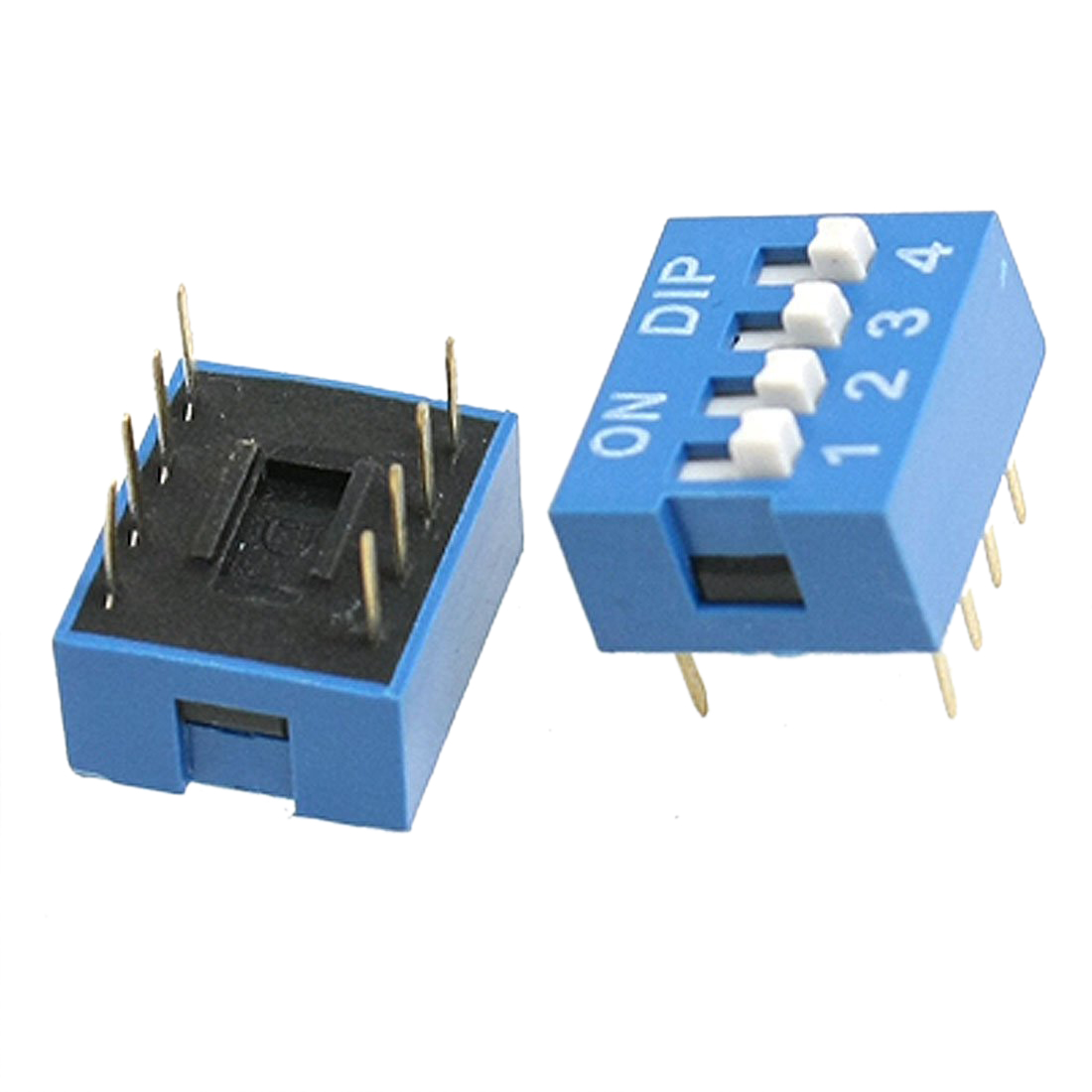 THGS 10 Pcs 2 Row 8 Pin 4P Positions 2.54mm Pitch DIP Switch Blue