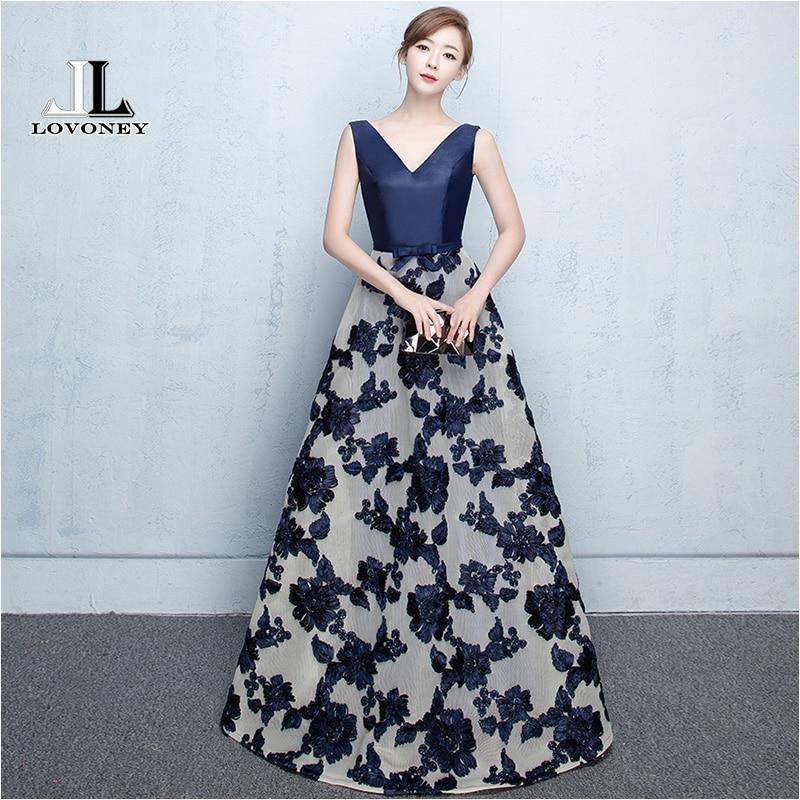 LOVONEY Elegant A-Line V-Ausschnitt Langes Abendkleid 2019 Heißer Verkauf Lace-Up Formale Abend Party Kleider Robe De Soiree M207