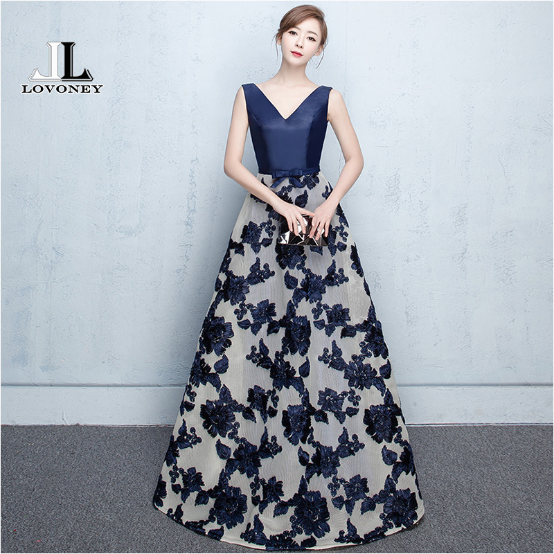 LOVONEY Elegant A-Line V-Neck Long   Evening     Dress   2019 Hot Sale Lace-Up Formal   Evening   Party   Dresses   Gown Robe De Soiree M207