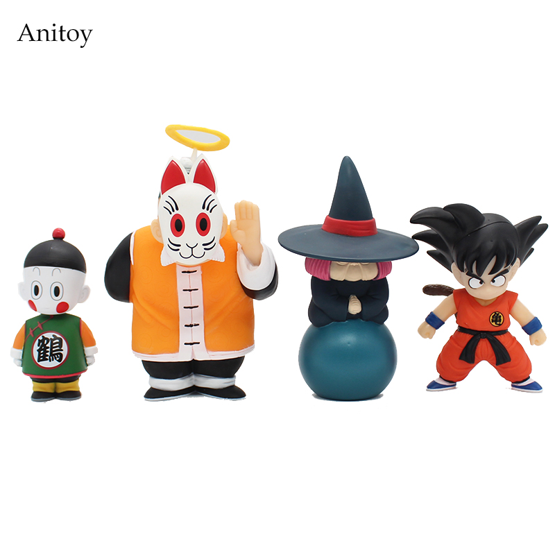 4pcs/set Anime Cartoon Dragon Ball Z Sun Goku Master Roshi Gohan Son Gokou PVC Action Figure Collectible Model Toy 10-15cm KT264 free shipping anime dragon ball master roshi pvc action figure collection model toy 25cm orange new loose
