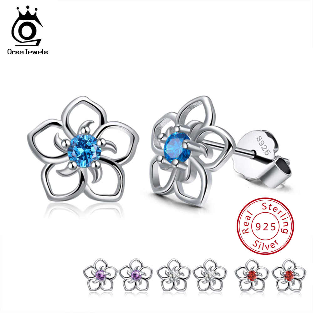 ORSA JEWELS 100% 925 Sterling Silver Female Stud Earrings Clear/Red/Blue/Purple AAA Cubic Zircon Available Fashion Jewelry SE71