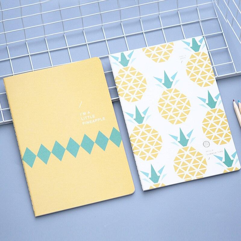 Yellow Pineapple Notebook Cartoon Cute Journal Diary Planner Notepad  1