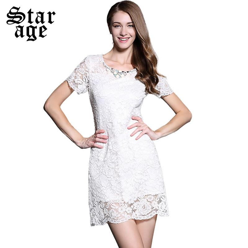 M L Brand Women Luxury Diamond White Lace Dress Summer Fashion Las Short Sleeve Knee Length Casual Dresses Clothing 8543 In From S
