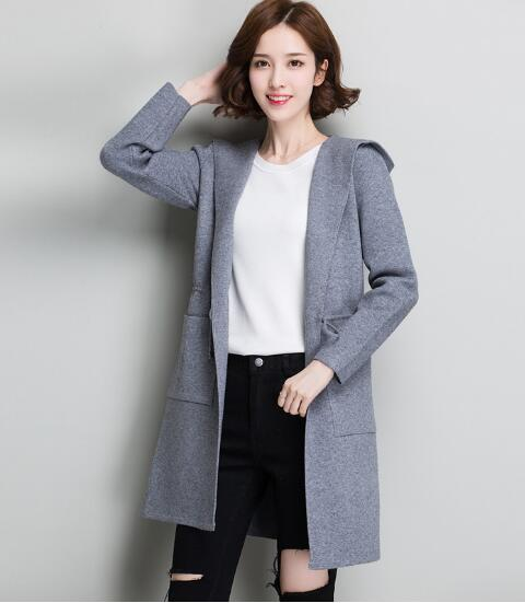 2018 autumn and winter new women's solid color knitted hooded cardigan wild sweater coat jones new york new black solid open front women s xl cardigan sweater $69 167