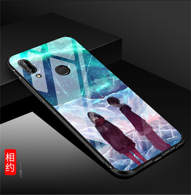 KDTONG Case sFor Coque Huawei P20 Lite Case Luxury Glass Hard Back Cover Case For Huawei P20 Pro Soft TPU Silicone Edge Case