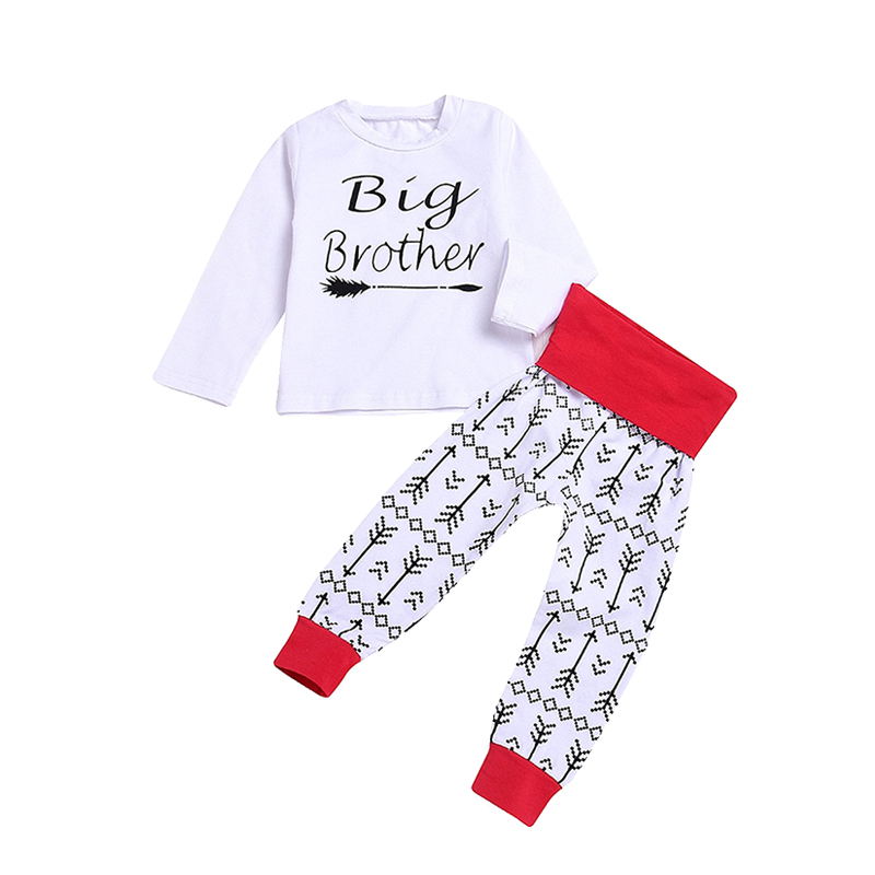Infant Toddler Baby Boys Girls 2pcs Long Sleeve Shirt Tops+Arrow Print Pants Leggings Casual Clothes Outfit Set ship from USA