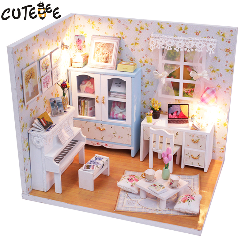 CUTEBEE Doll House Miniature DIY Dollhouse With Furnitures Wooden House  Toys For Children Birthday Gift M011