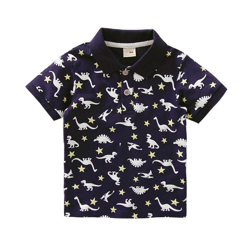 1-6T คุณภาพสูงฤดูร้อนผ้าฝ้ายเสื้อโปโลการ์ตูนไดโนเสาร์เด็กแขนสั้นเสื้อผ้า BEBE เด็กชายเสื้อเสื้อผ้าเด็กวัยหัดเดิน