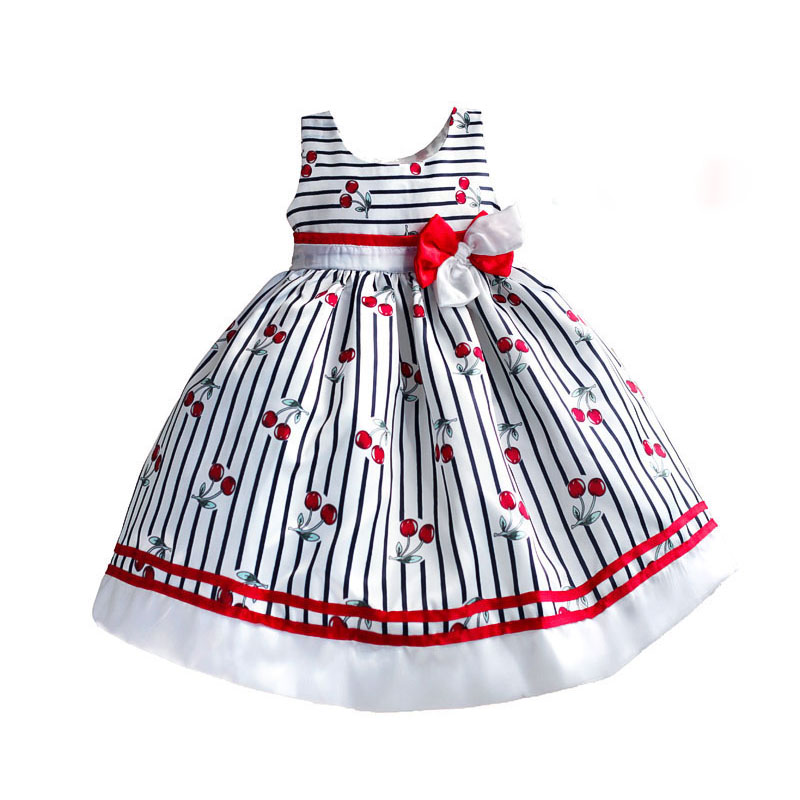 fashion print girl party dress cherry with striped kids dresses for girls clothes cross bow roupas infantis menina 3-8T striped print color block cami dress