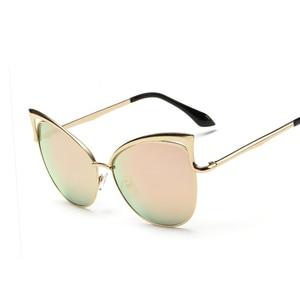 New fashion real metal frame sunglasses women brand designer retro vintage sunglasses cat eye glasses oculos de sol feminino