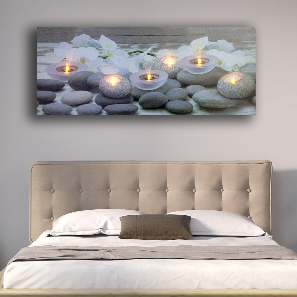 Светодиодная Настенная картина Белый цветок орхидеи с чайным светильник свечи спа расслабляющий холст художественный светильник декор жи