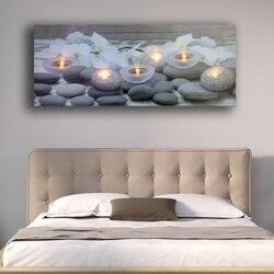Da parete a Led immagine bianco Orchidee fiore con tealight candele spa relax tela di canapa di arte luce up decor pittura opere d'arte stampato con cornice