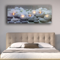 Led wall picture white Orchids flower with tealight candles spa relax canvas art light up decor painting artwork printed framed