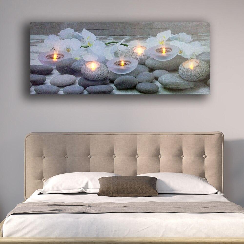 Mur LED photo orchidées blanches fleur avec bougies chauffe-plat spa relax toile art éclairer décor peinture œuvre imprimée encadrée