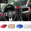 Aluminium Alloy Interior  Air Conditioner AC Vent Decorative Cover Round Frame 4pcs Red Color For JEEP COMPASS PATRAIOT 2010+