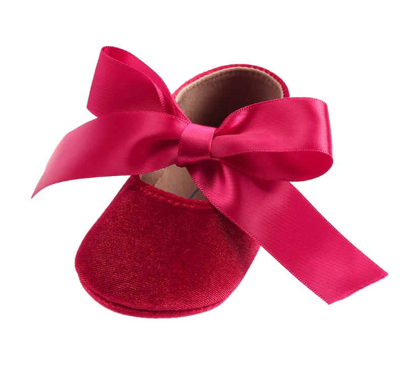 0-18M Fashion big tie bow Toddler Baby Girl Princess Shoes hard sole Infant Prewalker Newborn Baby Shoes mary jane party shoes