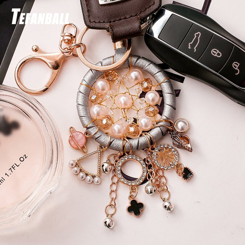 New Fashion Key Ring Dream Catcher Keychain Dream Catcher Dreamcatcher Key Chain Feather Wind Chime Car Hang Up Accessory-in Key Rings from Automobiles & Motorcycles