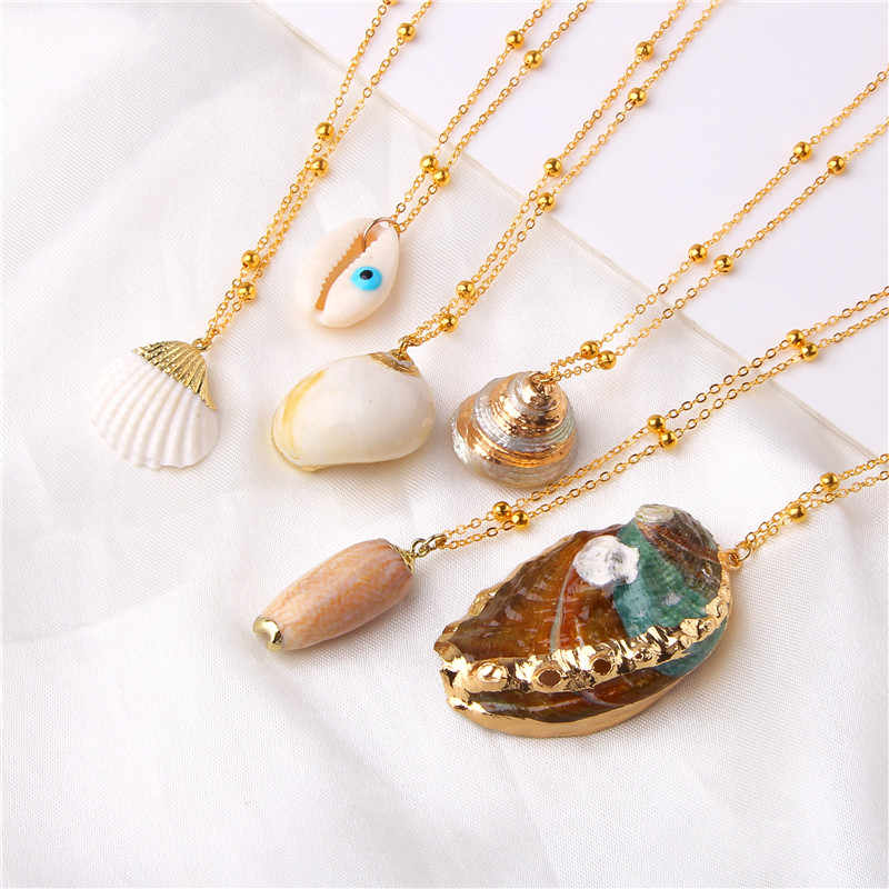 2019 Boho Conch Shell Necklace Sea Beach Shell Pendant Necklace For Women Collier Femme Shell Cowrie Summer Jewelry Bohemian
