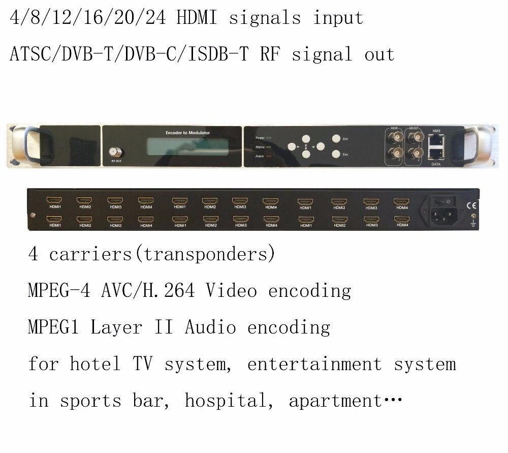 Haute intégration 1080 p multi HDMI à DVB-C/DVB-T/ATSC/ISDB-T codeur modulateur Numérique TV Tête De Réseau QAM RF Modulateur VEK-4782I