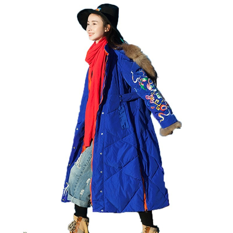 Winter Coat Ladies Chinese National Style Embroidery Long White Duck Down Jacket Women Tops Hooded Hat Snow Wear Overcoat B146
