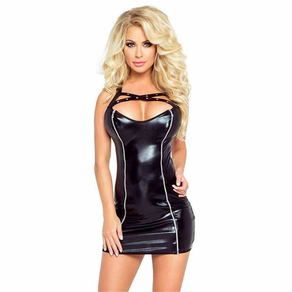 Patent Leather Light Chest Wound Camisole Front Zipper Miniskirt Club Sexy Lingerie Latex Dress Pvc Dress Clubwear Leather Dress