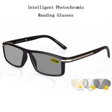 Intelligent Photochromic Reading Glasses magnifier Mens Square Frame Spectacles Metal Temple Design Computer UV400 H5