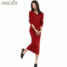 2017 Women's Elegent Cashmere Blend Long Dress Spring Autumn New V-Neck Collect Waist Mid-Calf Loose Knitted Wool Long Dresses