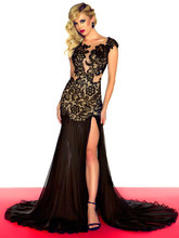 free shipping new style evening gown vestido de festa robe soiree 2014 fashion open leg sexy lace balck red prom dresses