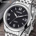 Comtex marca de lujo de los hombres relojes reloj de pulsera fecha display analógico de cuarzo movimiento reloj de los hombres ocasionales relojes relogio masculino
