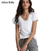 Alien Kitty 2017 New Casual Solid Color Short Sleeves Women T Shirt Simple V Neck Regenerated