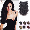 8A Grade Clip in Human Hair Extensions best  Quality Brazilian virgin hair Wave Clip In Human Hair Extensions clip in hair black